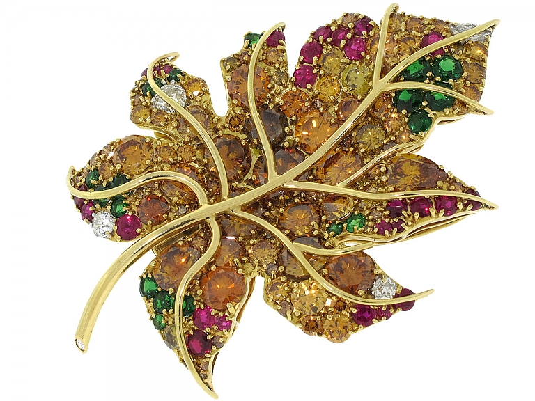 Video of Friedrich Yellow, Brown and Orange Diamond, Emerald and Ruby 'Maple Leaf' Brooch in 18K