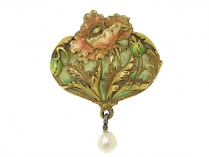 Antique Art Nouveau Enamel and Natural Pearl Brooch/Pendant in 18K