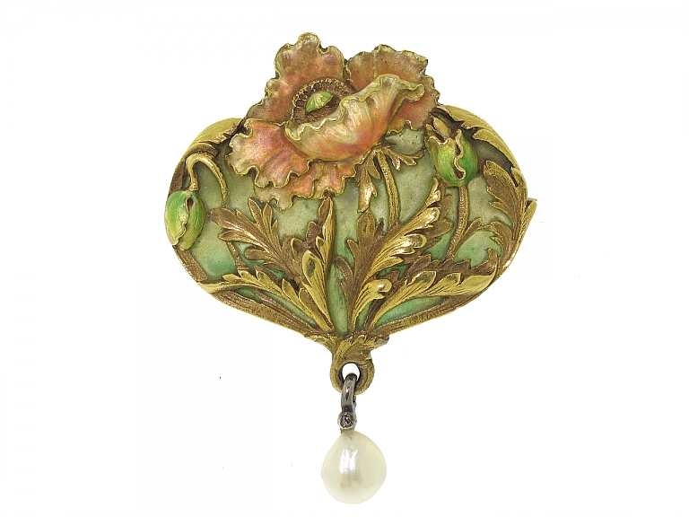 Video of Antique Art Nouveau Enamel and Natural Pearl Brooch/Pendant in 18K