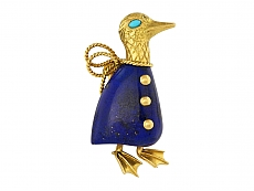 Cartier Paris Lapis Duck Brooch in 18K