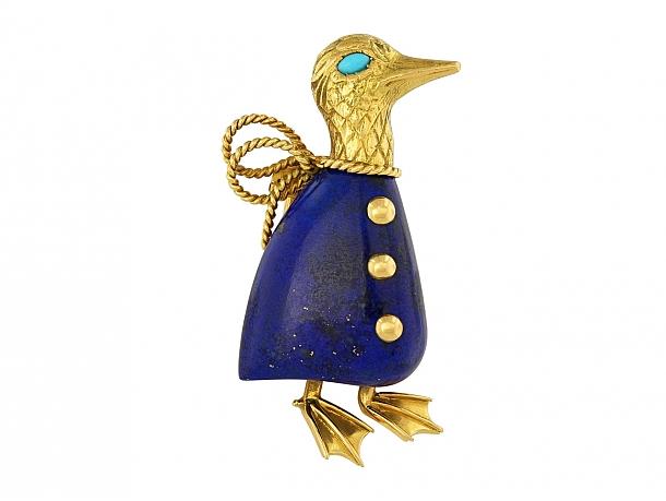 Cartier Paris Lapis Duck Brooch in 18K