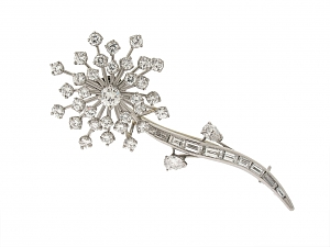 Oscar Heyman Diamond Flower Brooch in Platinum