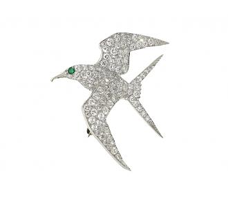 Diamond Bird Brooch in Platinum