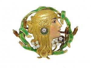 Antique Art Nouveau Enamel Brooch in 18K