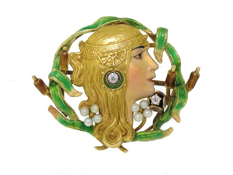 Video of Antique Art Nouveau Enamel Brooch in 18K