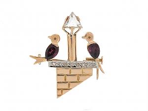 Retro Diamond and Garnet Love Bird Brooch in 18K