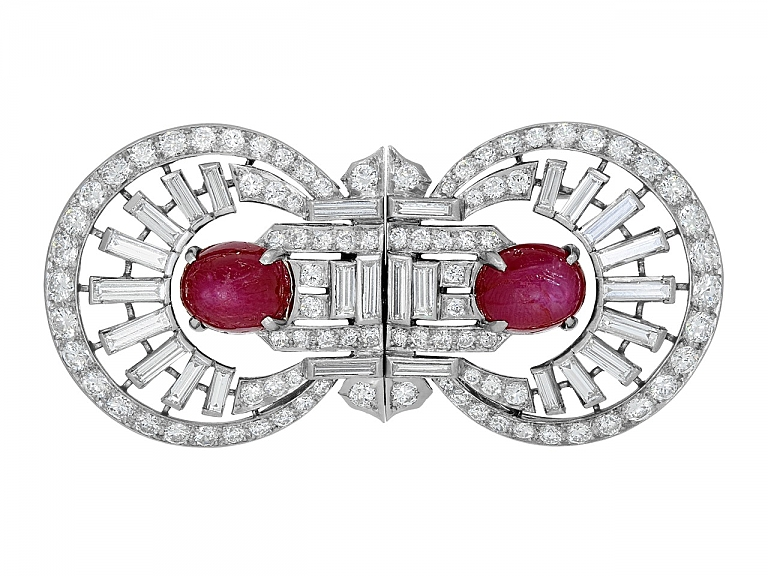 Video of Art Deco Star Ruby and Diamond Double Clip Brooch in Platinum