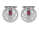 Art Deco Star Ruby and Diamond Double Clip Brooch in Platinum