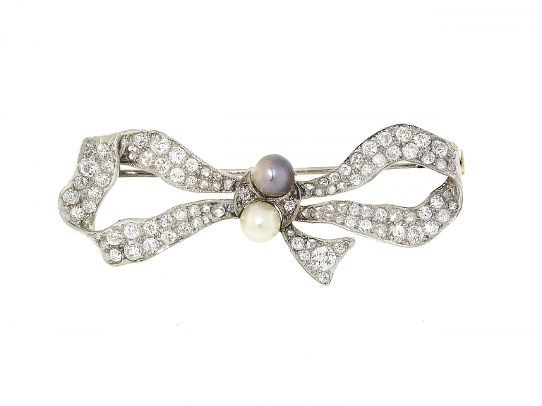 Video of Antique Edwardian Diamond and Natural Pearl Bow Brooch in Platinum