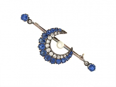 Antique Victorian Sapphire and Diamond Crescent Brooch