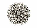 Antique Victorian Diamond Brooch in Silver over Gold