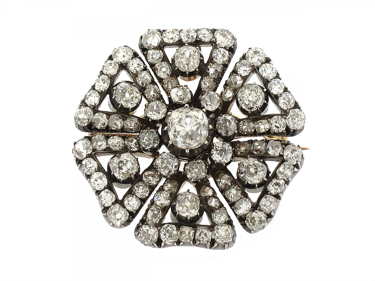 Video of Antique Victorian Diamond Brooch in Silver over Gold