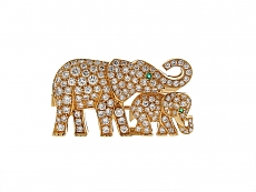 Cartier Diamond Elephant Brooch in 18K Gold