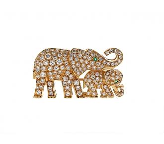 Cartier Diamond Elephant Brooch in 18K Gold