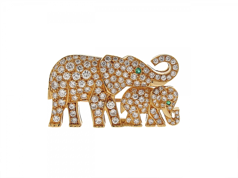 Video of Cartier Diamond Elephant Brooch in 18K Gold