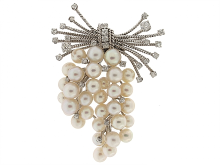 David Webb Cultured Pearl and Diamond Brooch in 14K White Gold