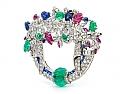 Art Deco Tutti Frutti Gemstone and Diamond Brooch in Platinum