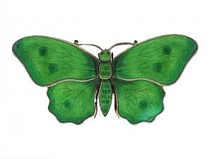 Antique Child & Child Green Enamel Butterfly Brooch in Sterling