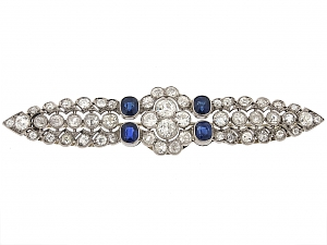 Edwardian Diamond and Sapphire Wing Brooch with French Hallmarks in Platinum and 18K