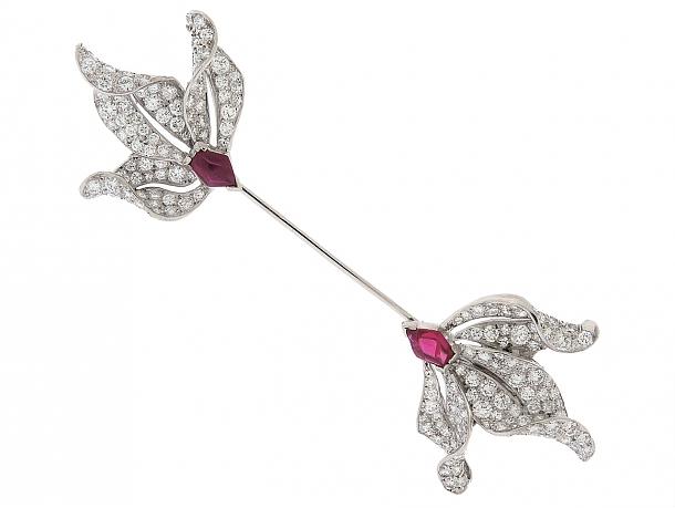 Art Deco Ruby and Diamond Jabot Pin in Platinum