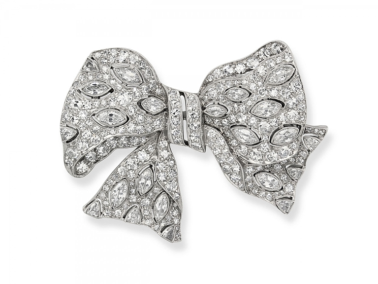 Video of Exquisite Janesich Art Deco Diamond and Platinum Bow Brooch