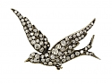 Antique Victorian Diamond Bird Brooch in Silver and Gold