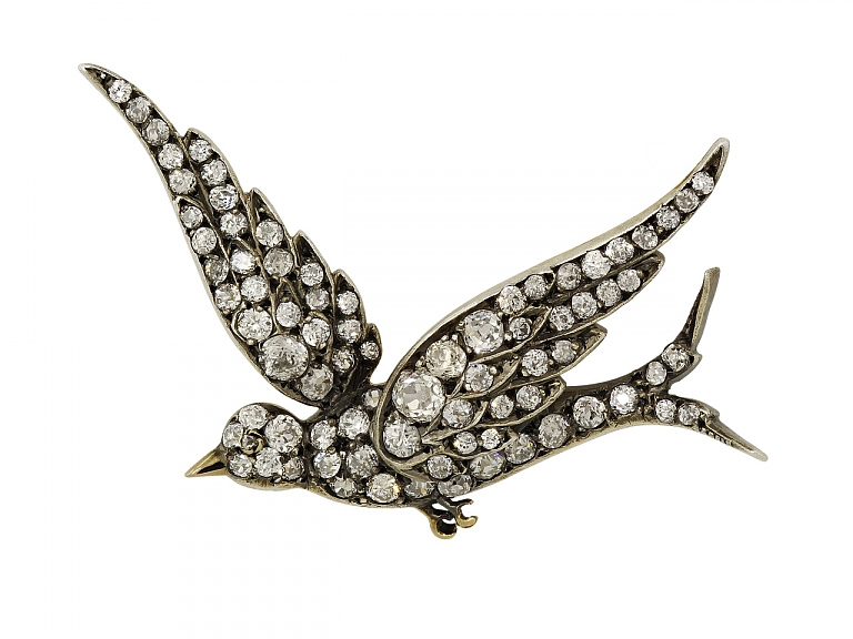 Video of Antique Victorian Diamond Bird Brooch in Silver and Gold