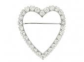 Diamond Heart Brooch in Platinum