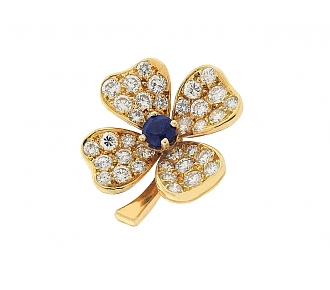 Fred Sapphire and Diamond Clover Brooch in 18K
