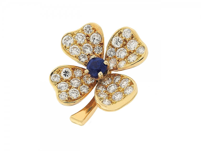 Video of Fred Sapphire and Diamond Clover Brooch in 18K