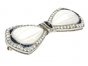 Tiffany & Co. Art Deco Crystal, Diamond and Sapphire Bow Brooch in Platinum