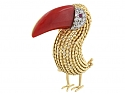 French Toucan Coral Brooch in 18K