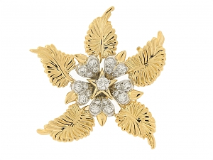 Tiffany & Co Jean Schlumberger 'Floral Leaves' Diamond Brooch in 18K and Platinum