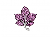 Martin Katz Pink Sapphire and Diamond Leaf Brooch in 18K Gold