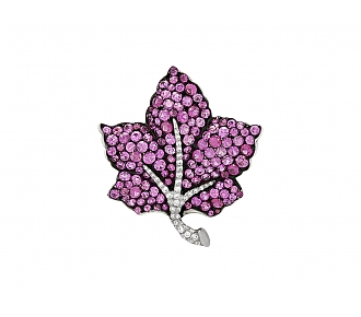 Martin Katz Pink Sapphire and Diamond Leaf Brooch in 18K Gold