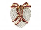Oscar Heyman Diamond and Ruby Heart Brooch Pendant in Platinum and 18K