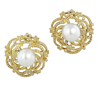 Pair of South Sea Pearl and Diamond Brooches/Pendant in 18K