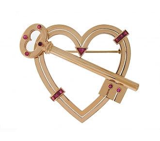 "Retro ""Key To My Heart"" Ruby Brooch in 14K Rose Gold"