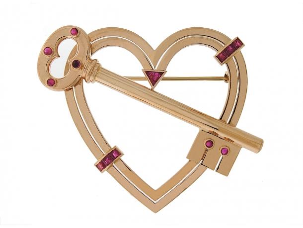 "Retro ""Key To My Heart"" Ruby Brooch in 14K Rose Gold"