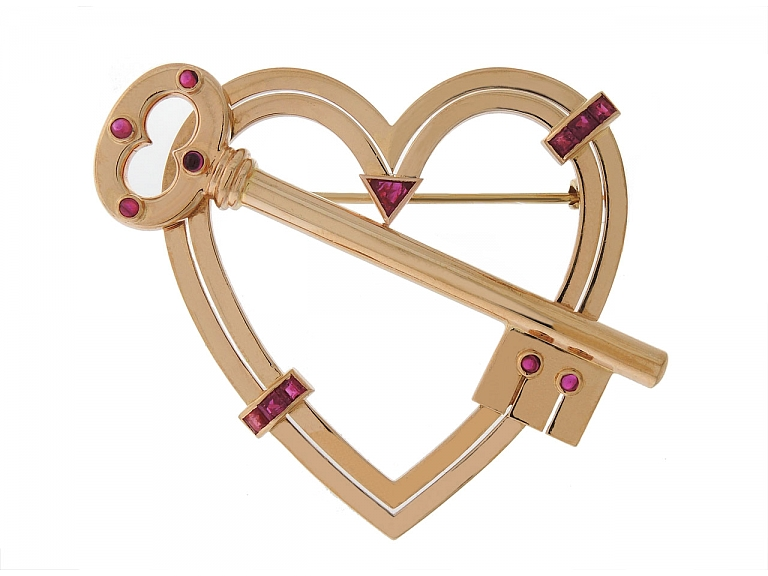 """Video of Retro """"Key To My Heart"""" Ruby Brooch in 14K Rose Gold"""