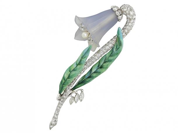 Art Deco Diamond Fox Glove Flower Brooch in Platinum