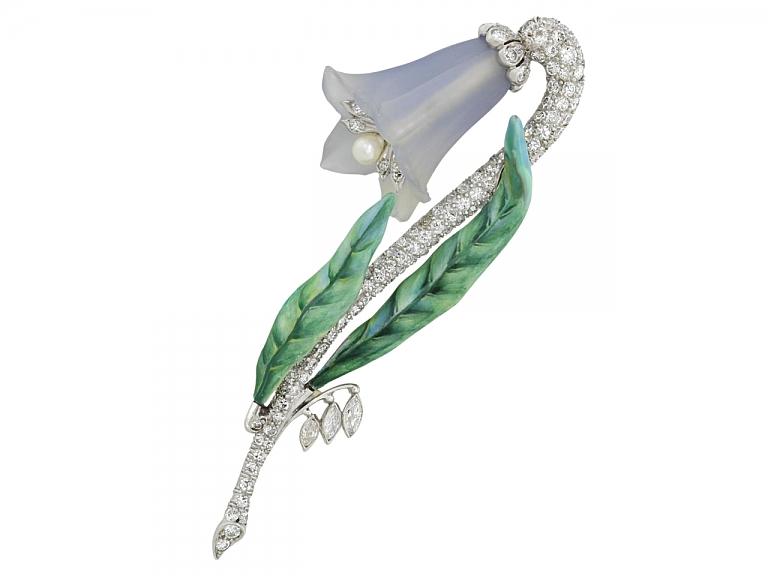 Video of Art Deco Diamond Fox Glove Flower Brooch in Platinum