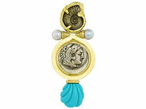 Elizabeth Gage Ancient Coin, Pearl and Turquoise Brooch in 18K