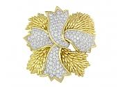 David Webb Ribbon Diamond Brooch in Platinum and 18K Gold