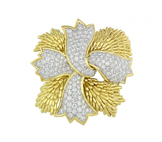 David Webb Ribbon Diamond Brooch in Platinum and 18K Gold
