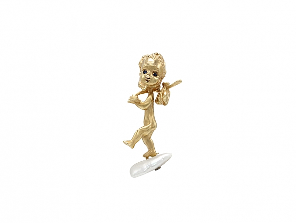 Ruser American Freshwater Pearl 'Thursday's Child' Brooch in 14K Gold