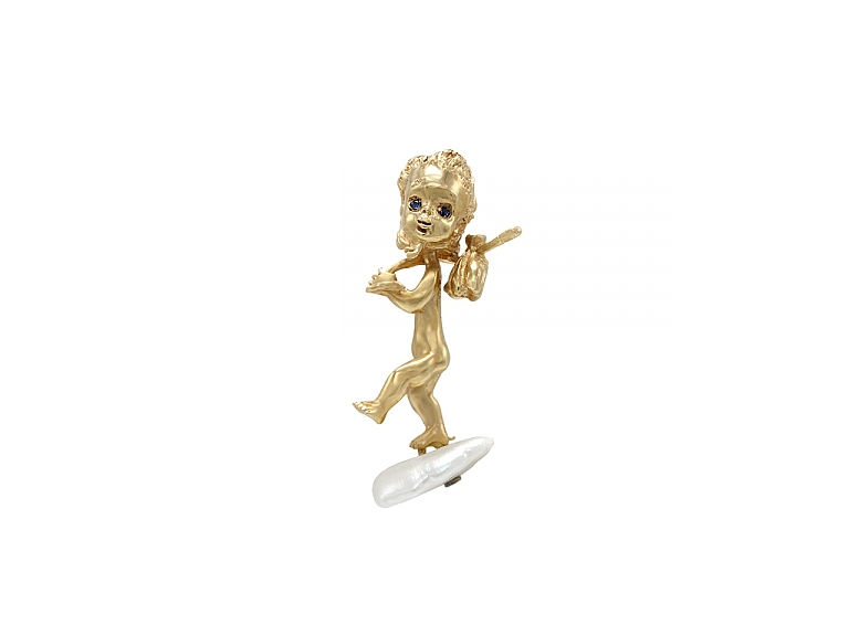 Video of Ruser American Freshwater Pearl 'Thursday's Child' Brooch in 14K Gold