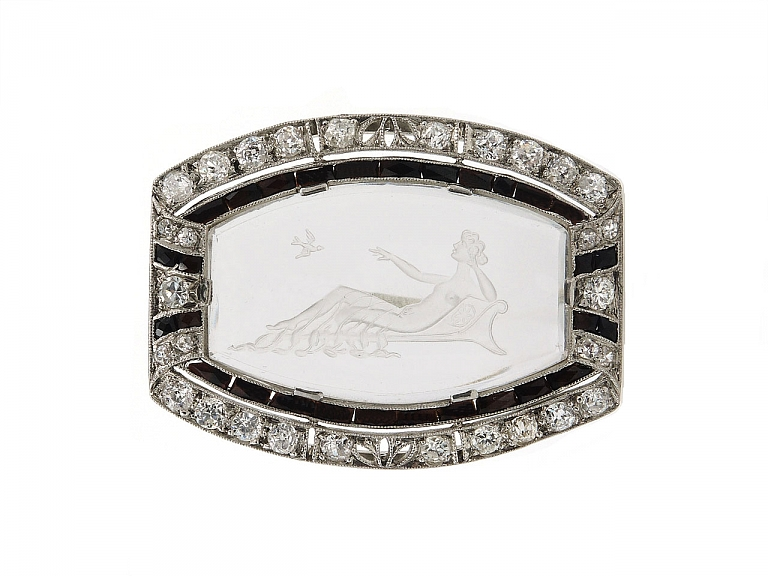 Video of Art Deco Crystal, Diamond and Onyx Brooch in Platinum