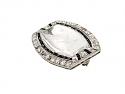 Art Deco Crystal, Diamond and Onyx Brooch in Platinum