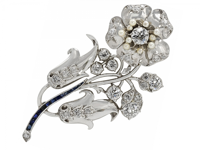 Video of Retro Diamond, Sapphire, and Seed Pearl Flower Brooch in Platinum